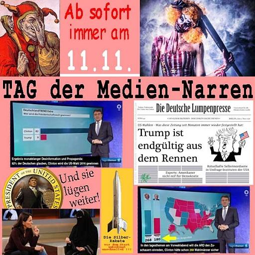 Klicken Sie auf die Grafik für eine größere Ansicht  Name:SilberRakete_Tag-der-Mediennarren-11-11-ARD-ZDF-Presse-DTrump-Und-sie-luegen-weiter.jpg Hits:2 Größe:110,1 KB ID:4730