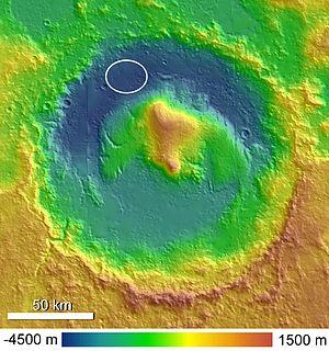 Klicken Sie auf die Grafik für eine größere Ansicht  Name:300px-Topographic_Map_of_Gale_Crater.jpg Hits:55 Größe:31,8 KB ID:1087
